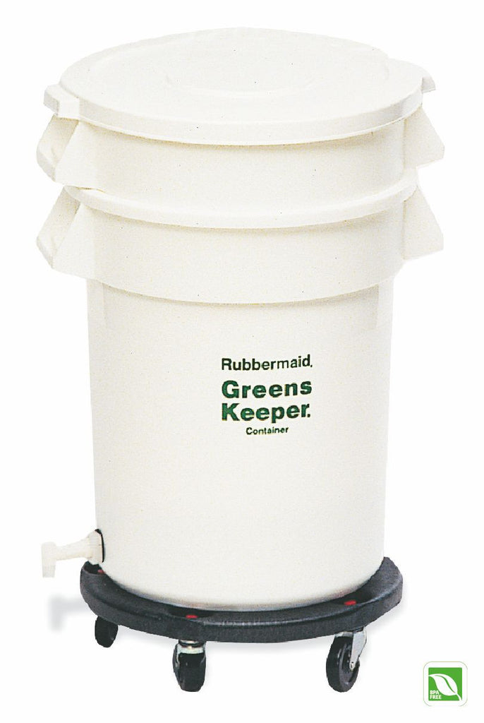GREENSKEEPER CONTAINER 32gal W/LID&DOLLY WHITE
