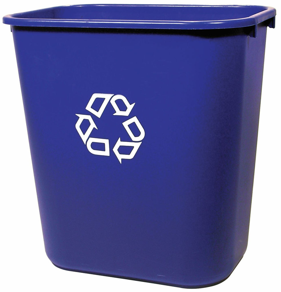 WASTEBASKET RECT 28-1/8qt BLUE W/U-RECYCLE SYMBOL