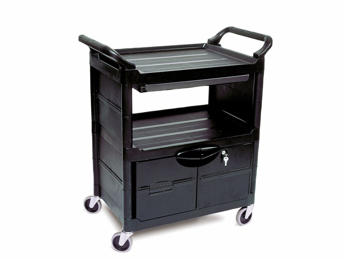 "UTILITY CART W/LOCKABLE DOORS,SLIDING DRAWER &4"" SWIVEL CASTERS"