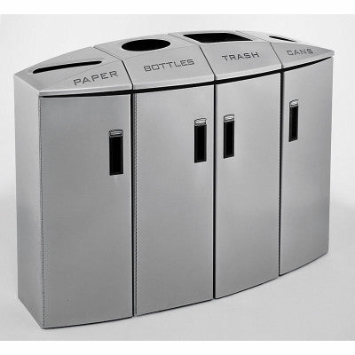 RUBBERMAID 4-STREAM 2x12gal,2x18gal PAPER/BOTTLES/TRASH/CANS,NON-LOCKING