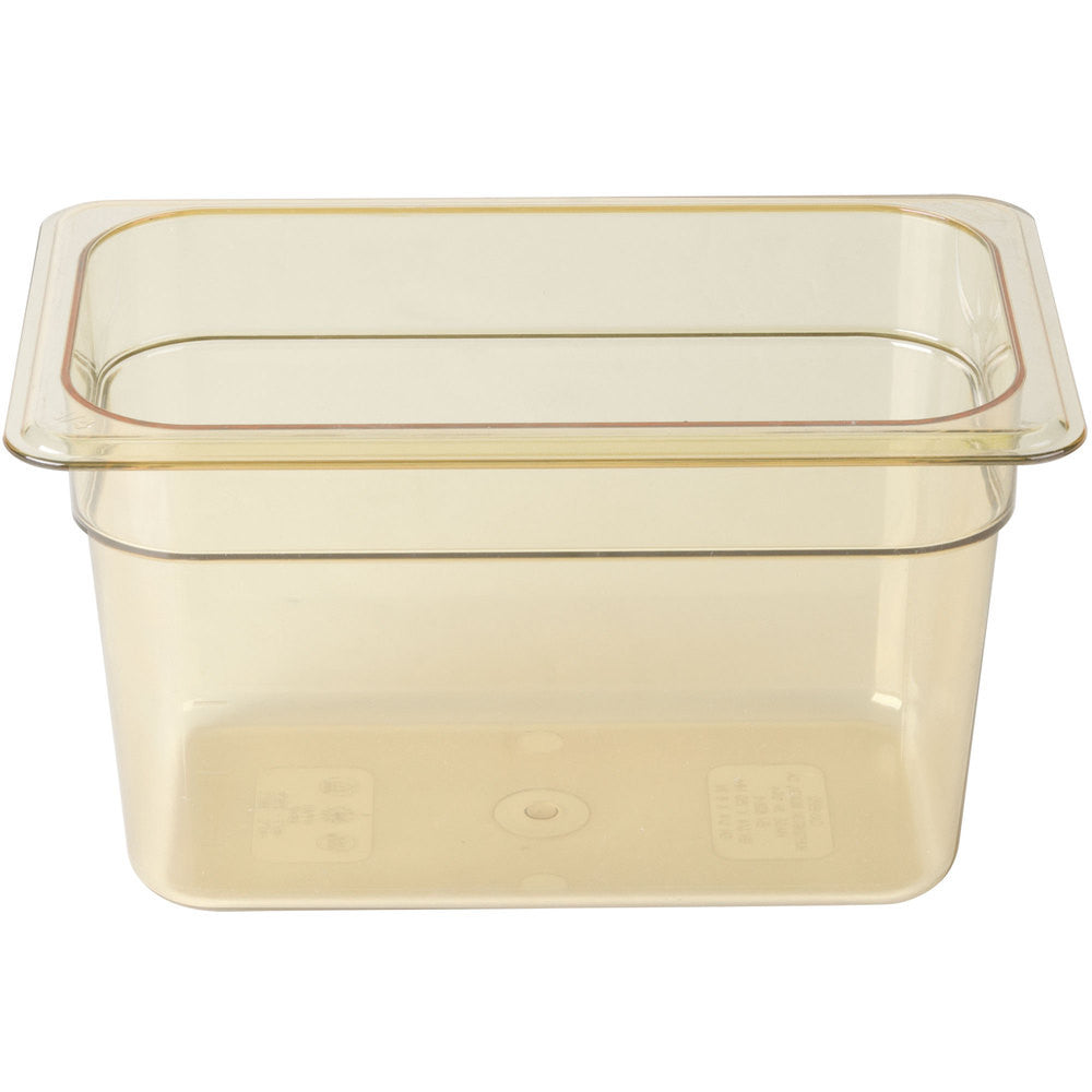 "RUBBERMAID 1/4 SIZE, FOOD PAN, 4"" W/LID AMBER"