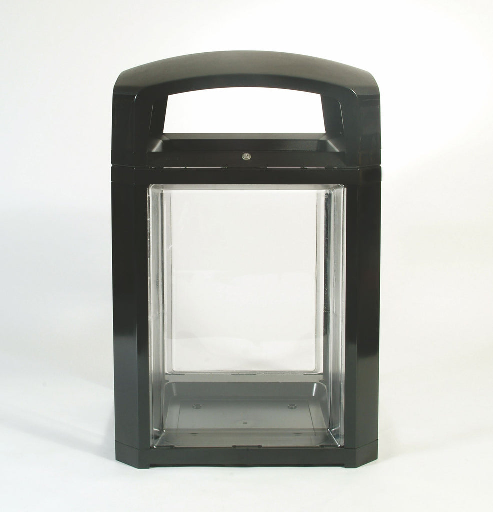 SECURITY CONTAINER 50gal W/LOCK & CLEAR PANELS