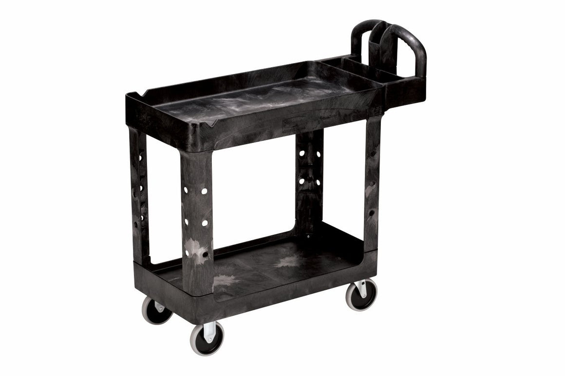 "39""x17.88""x33.25"" LIPPED-SHELF CART BLACK"