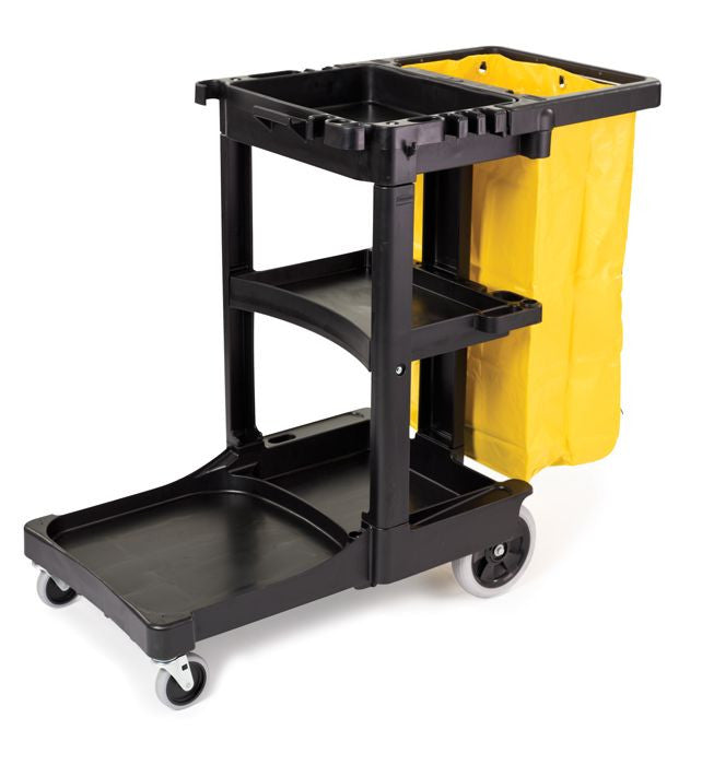 JANITOR CART BLACK W/ZIPPERED YELLOW VINYL BAG