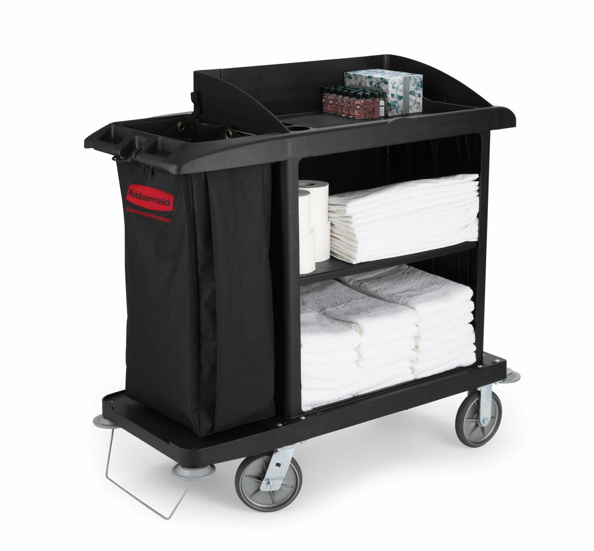 XTRA tm COMPACT HOUSEKEEPING CART W/VINYL BAG, BUMPERS & VACUUM