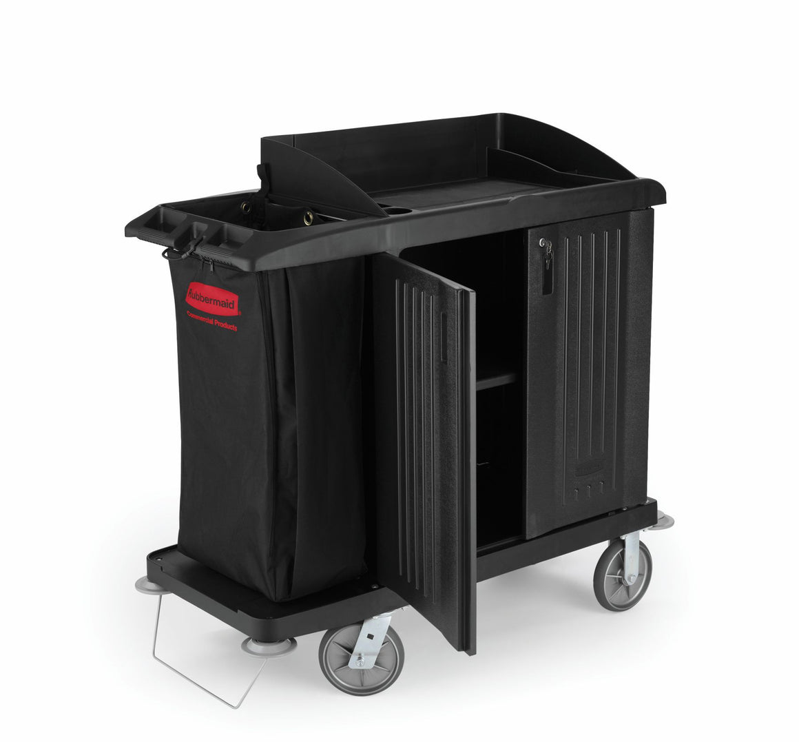 COMPACT CART W/DOOR, VINYL BAG, BUMPER & VACUUM HOLDER BLACK