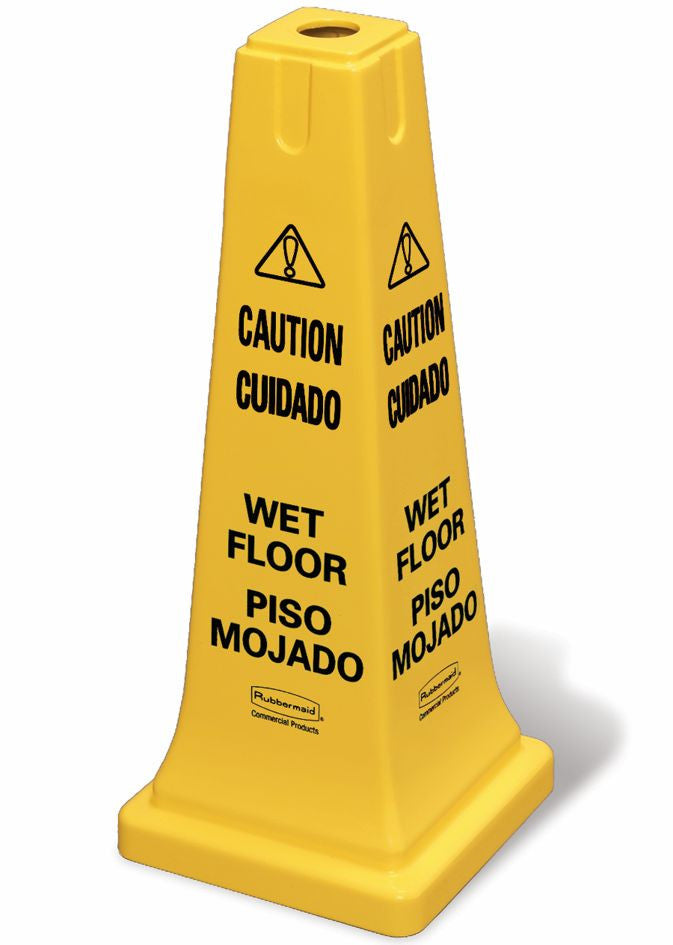 "SAFETY CONE W/M-LINGUAL ""CAUTION,WET FLOOR"""