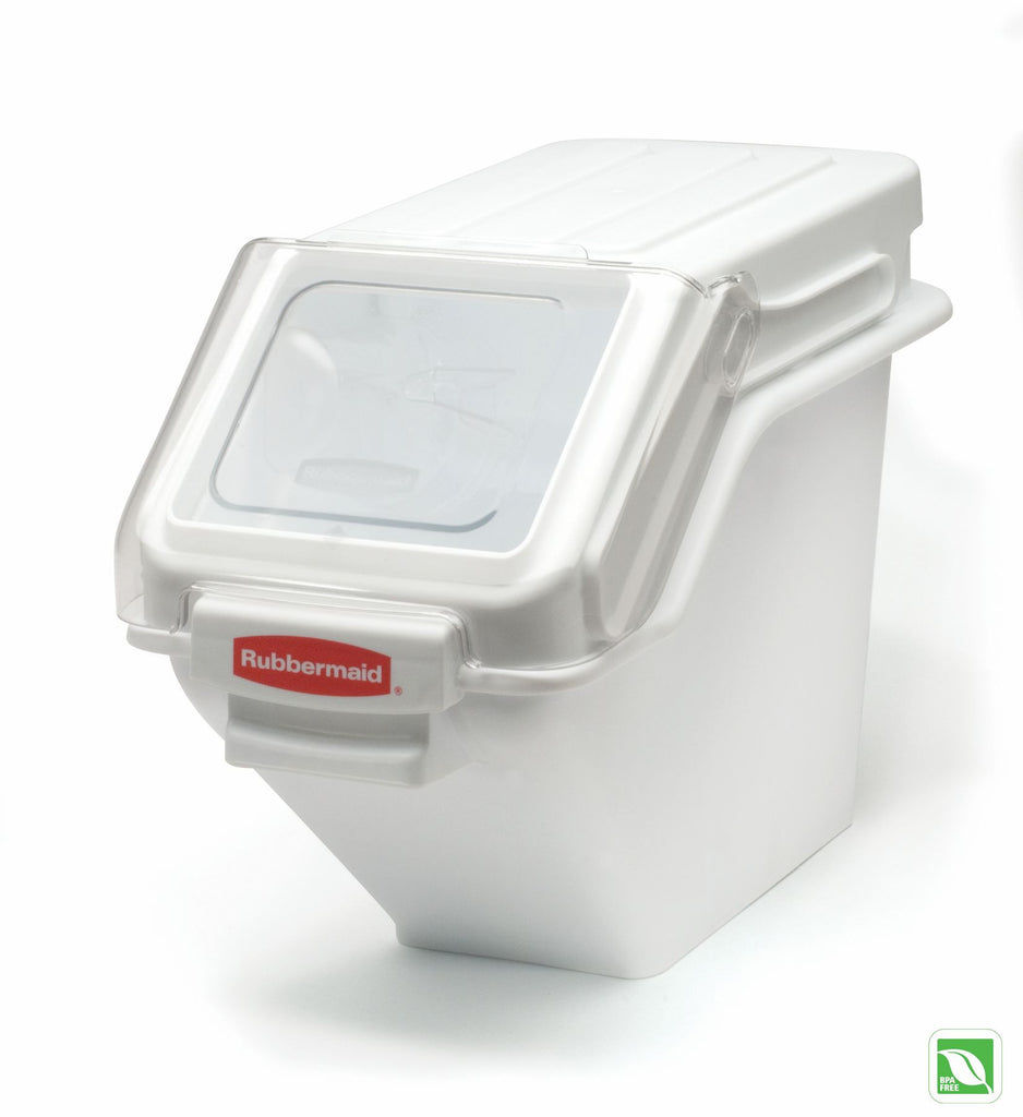 100CUP SAFETY STORAGE BIN WHITE W/2CUP SCOOP