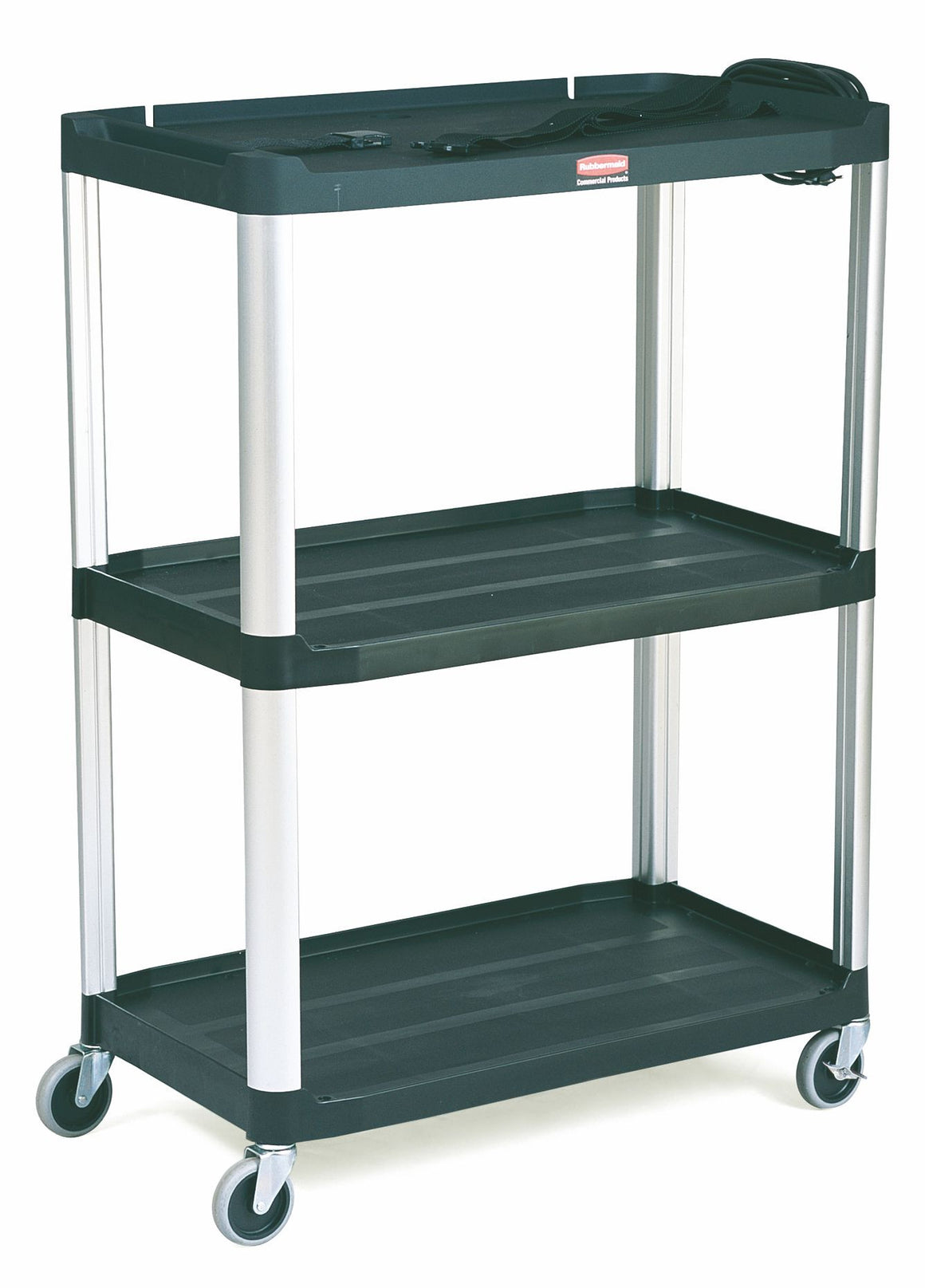 "AUDIO-VISUAL OPEN CART, 3 SHELVES/4"" CASTERS BLACK"
