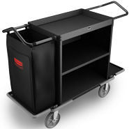 RUBBERMAID HIGH CAPACITY HOUSEKEEPING CART BLACK*