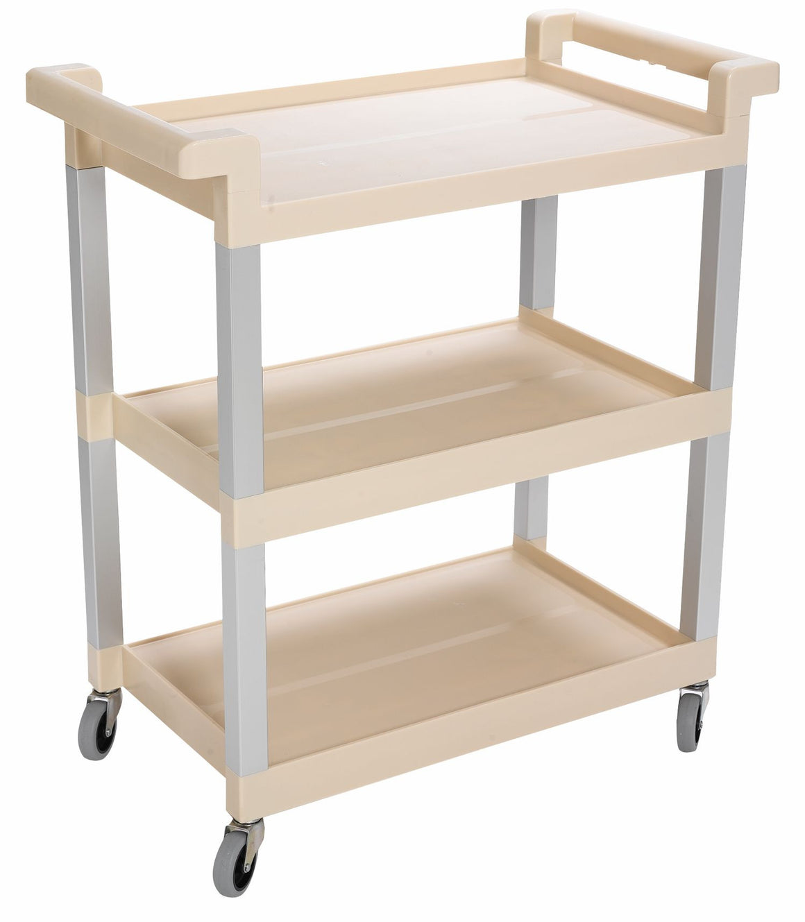 "UTILITY CART W/3"" SWIVEL CASTERS & ALUM UPRIGHT BEIGE"