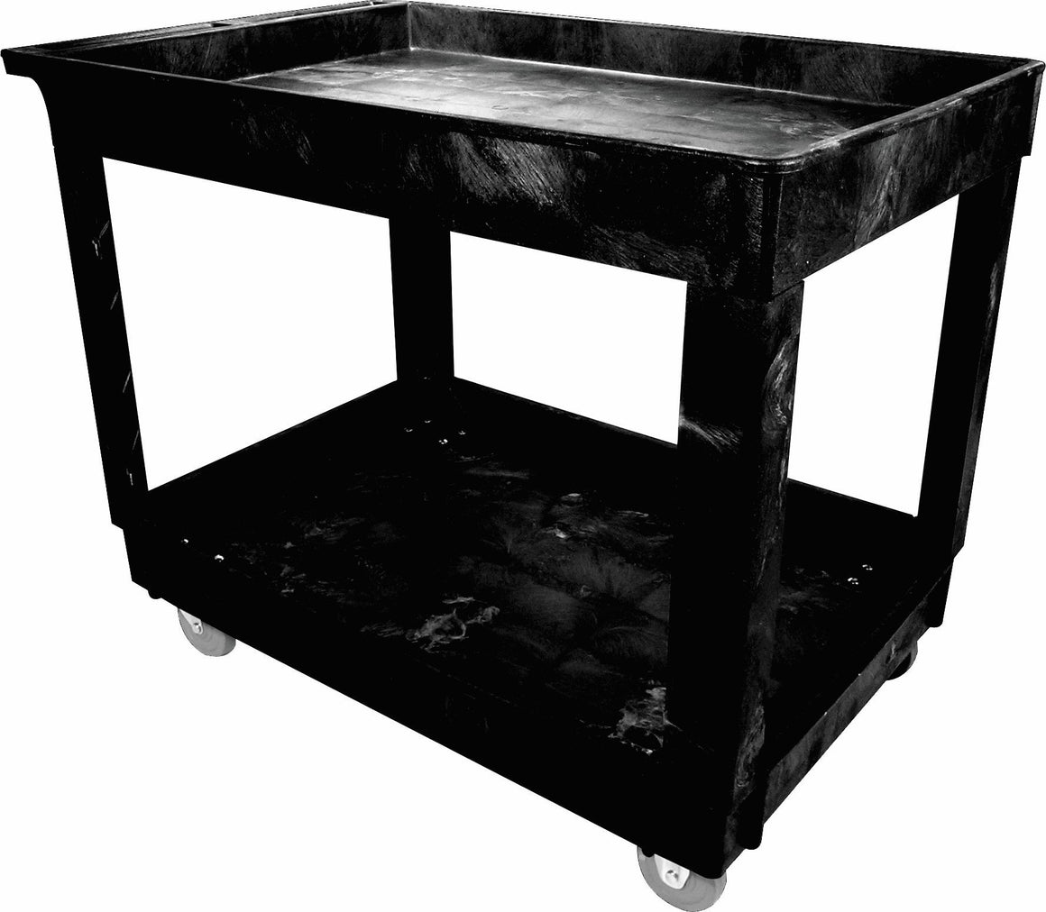 "2-SHELF UTILITY CARTS W/4"" CASTERS BLACK"