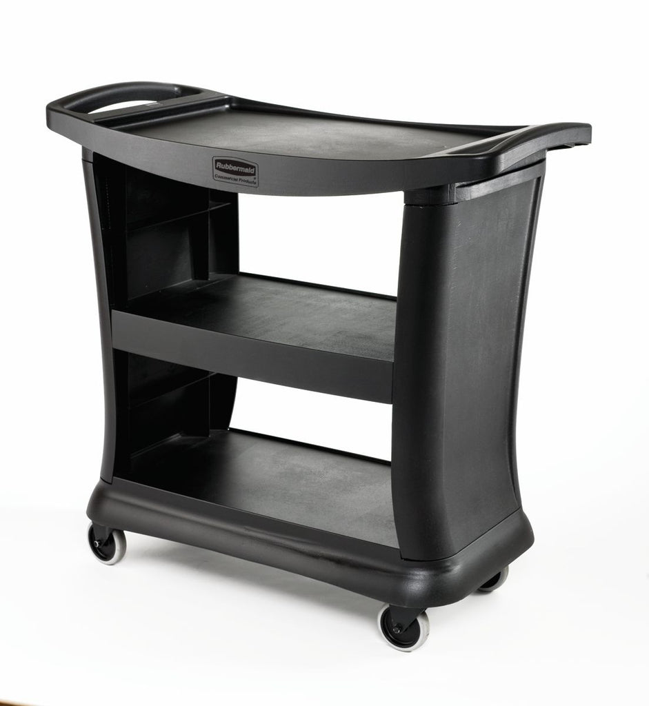 "ALL PLASTIC SERVICE CART 3-SHELF 39x21x38""h BLACK"