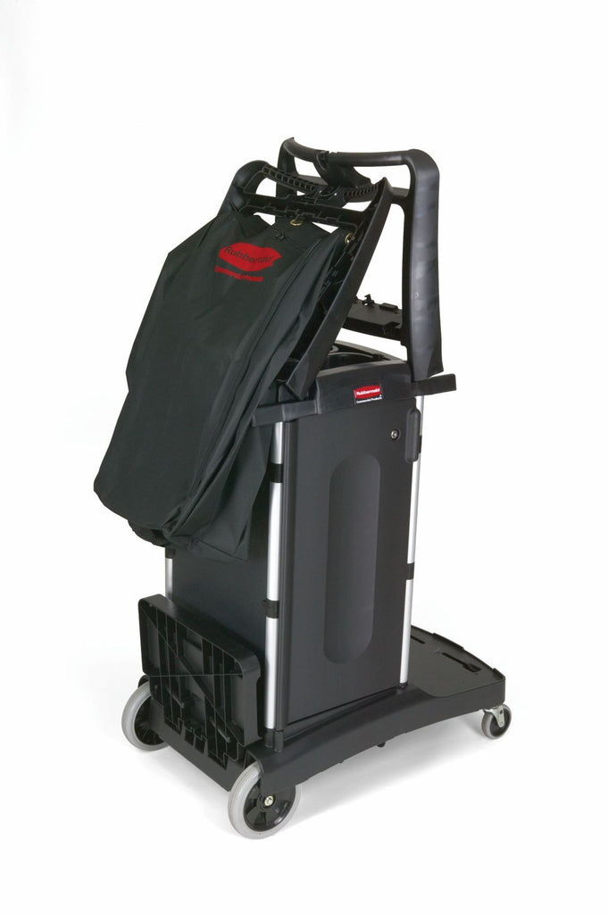 COMPACT FOLDING HOUSEKEEPING CART BLACK