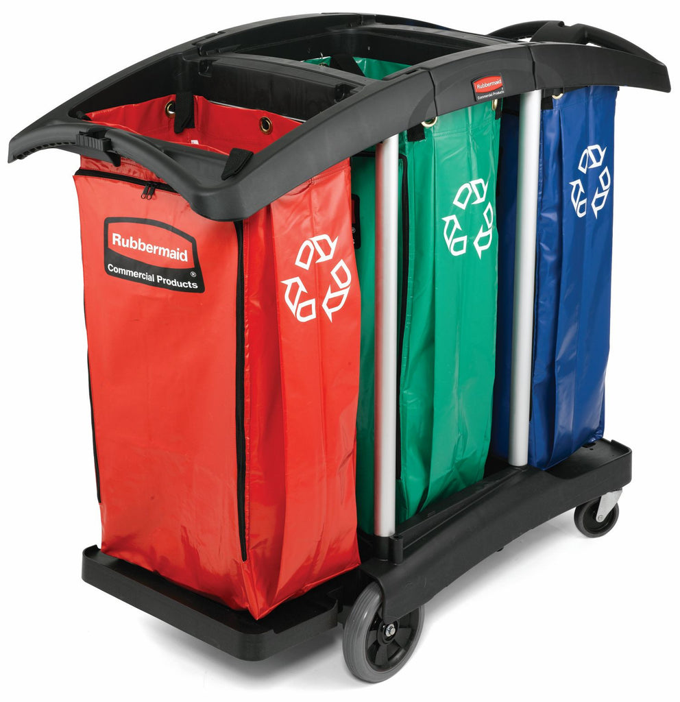 TRIPLE CAPACITY CLEANING CART with RECYCLING BAG (3 COLOR) 51