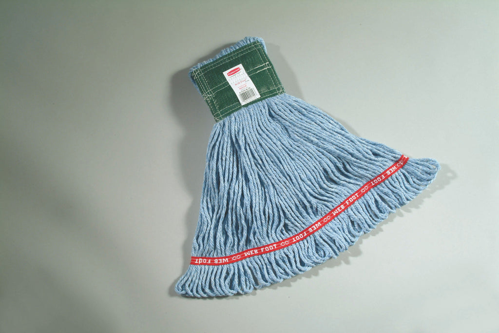 "WEB FOOT ANTIMICROBIAL MOP 5"" H/BAND BLUE MEDIUM"