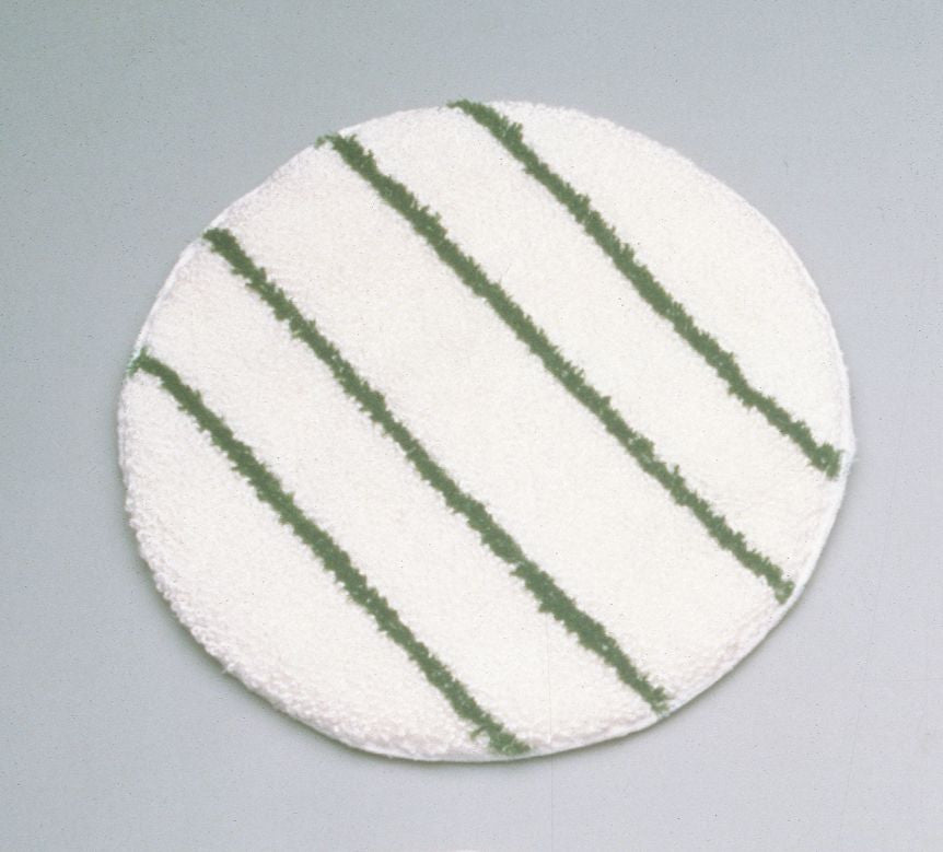 "SPIN KLEAN BONNETS 17"" WHITE W/100% BCF GREEN STRIPS"