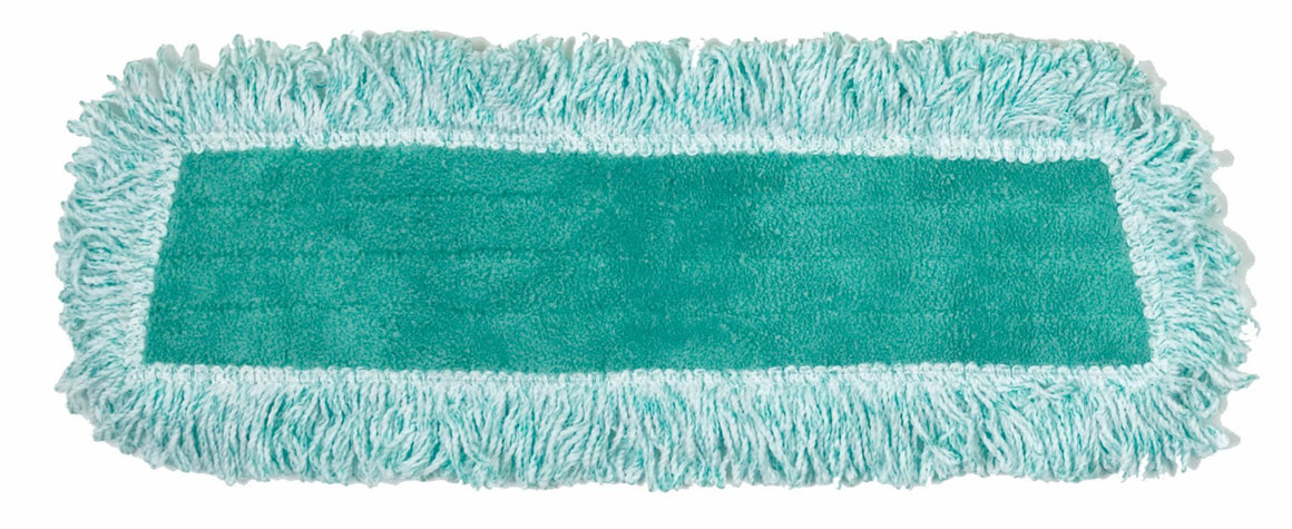 "18"" ECONOMY MICROFIBER FRINGED DUST MOP GREEN"