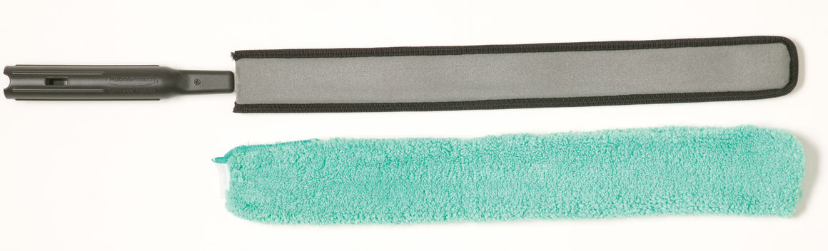 "28.75""QC FLEXIBLE DUSTER WAND BLACK W/MICROFIBER SLEEVE GREEN"