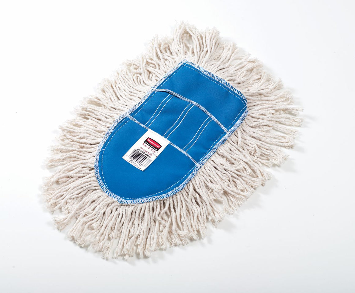 WHITE W/BLUE CUT END WEDGE DUST MOP for U110
