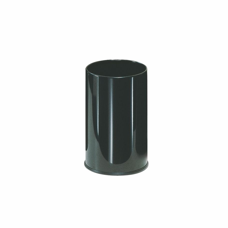 "5gal 10""x15"" RD.WASTEBASKET BLACK POWDER COAT FINISH"