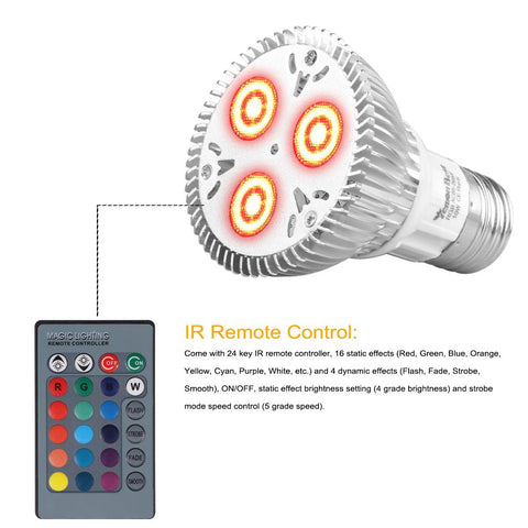 Remote Controlled Color Changing LED Rainbow Light Bulb