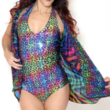 Holographic Sparkle Bodysuit - Rainbow Kitty