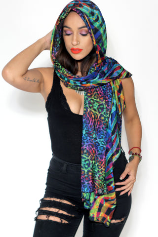 Wrap Scarf - Rainbow Kitty / Spectral Safari