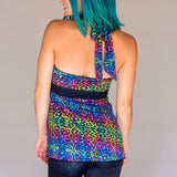 Reversible Halter Top - Rainbow Kitty