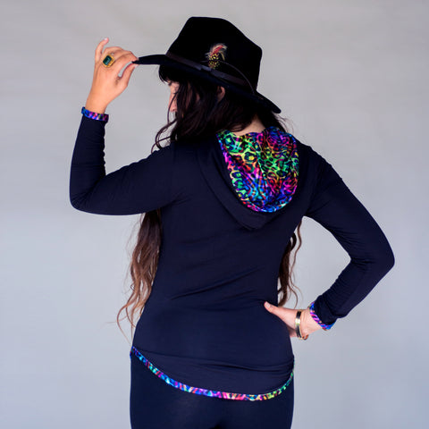 Women's Hooded Shirt - Rainbow Kitty