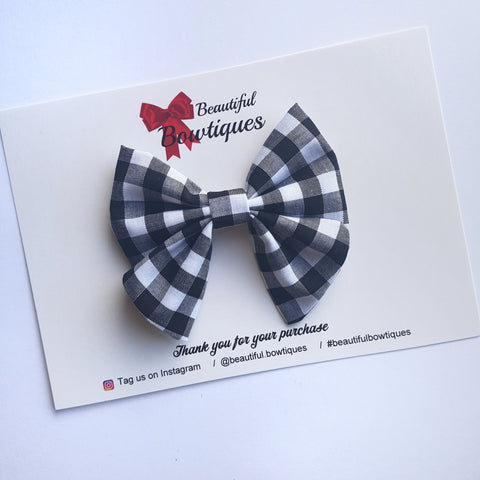 Sailor Bow Mini - Black Gingham