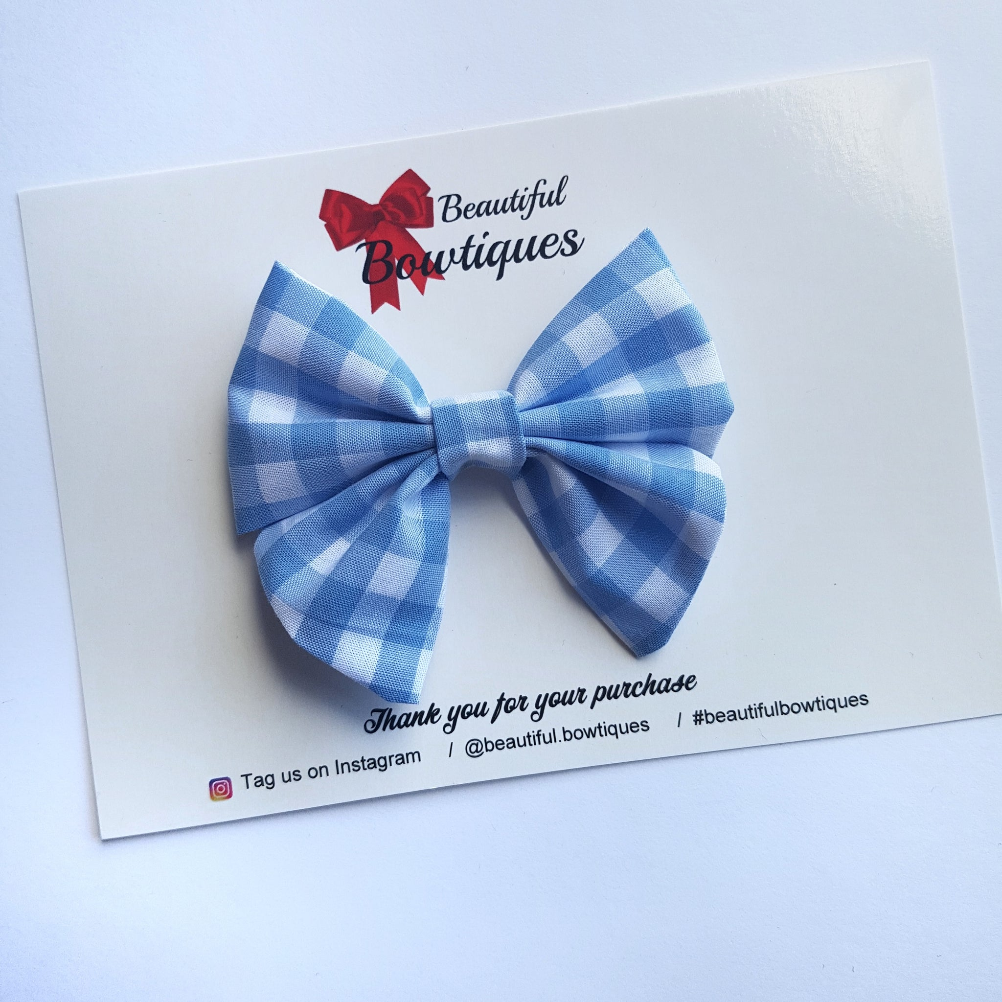 Sailor Bow Mini - Blue Gingham
