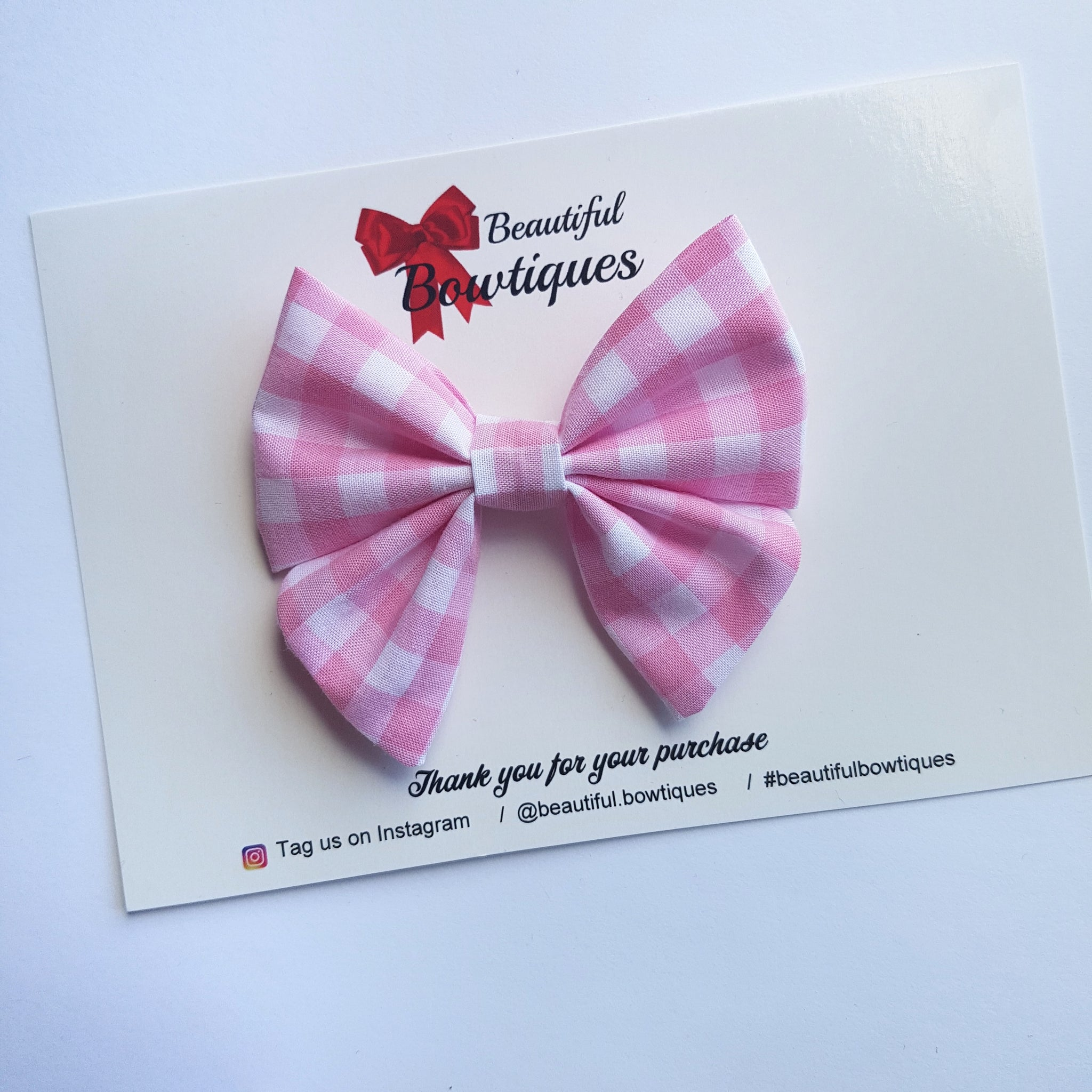 Sailor Bow Mini - Pink Gingham
