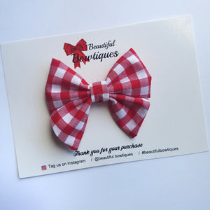 Sailor Bow Mini - Red Gingham