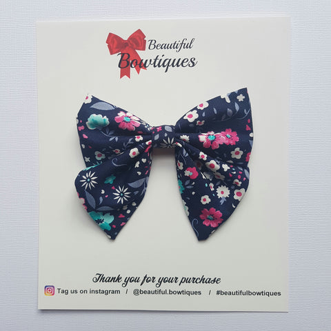 Sailor Bow - Navy floral