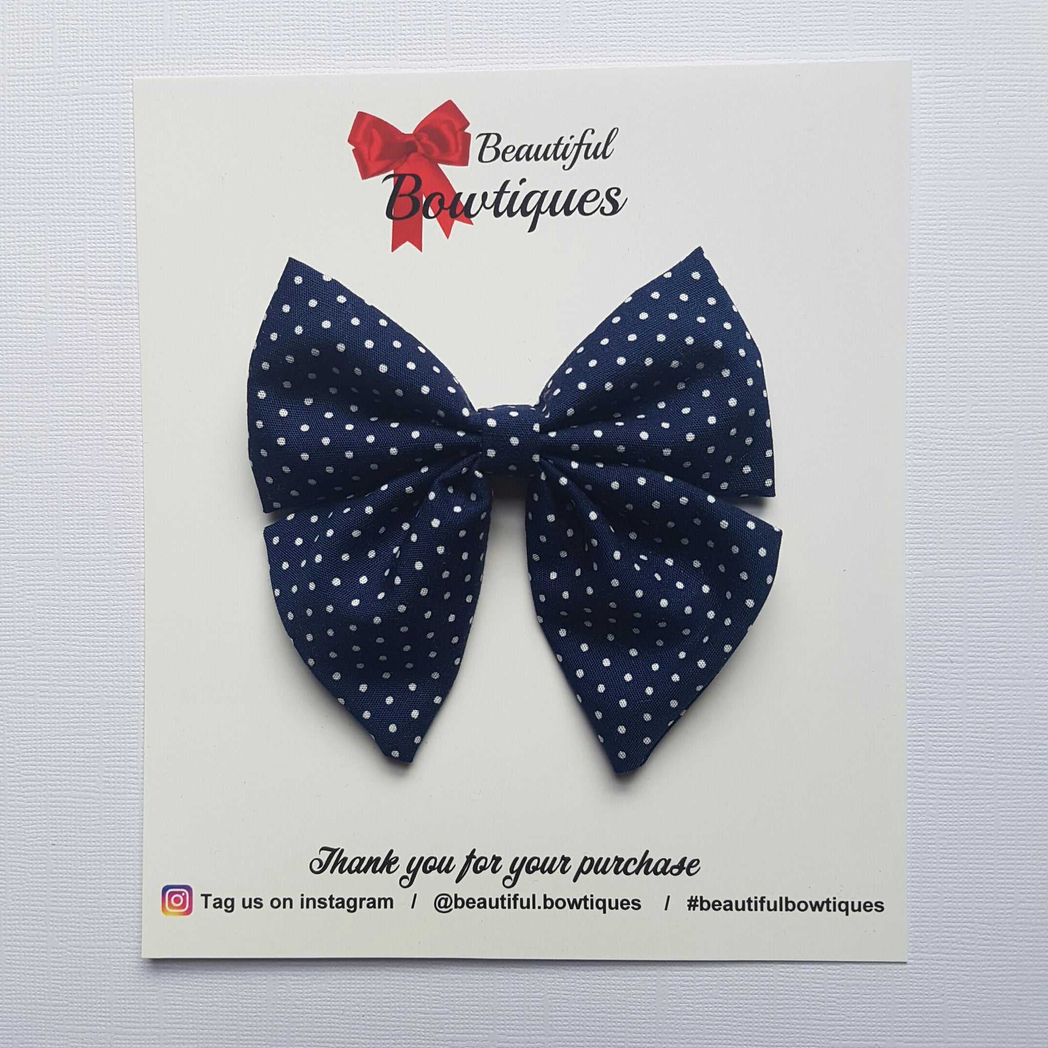 Sailor Bow - Navy polkadot