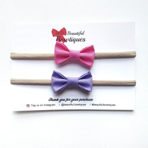 Petite Bow Set / Pink & Purple