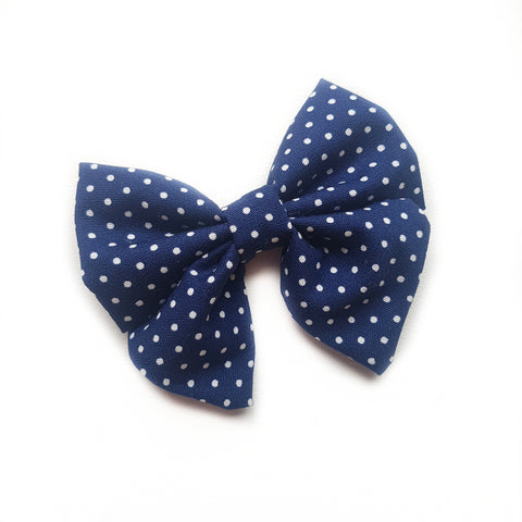 Sailor Bow Mini - Navy polkadot