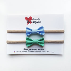 Petite Bow Set / Blue & Green