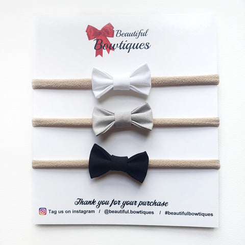 Petite Bow Set / White, Grey & Black