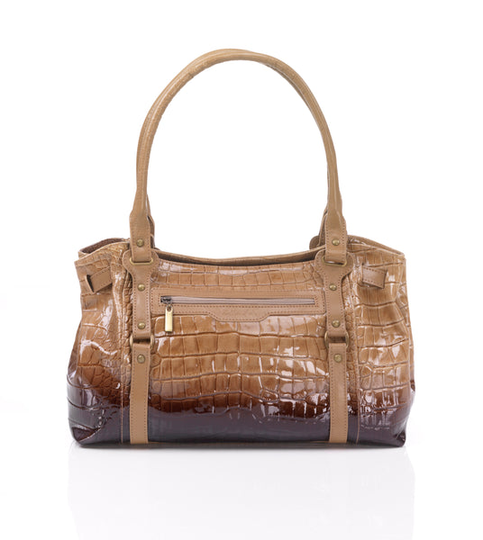 Zella Ash - Roze, Croc Embossed Leather Shoulder Bag