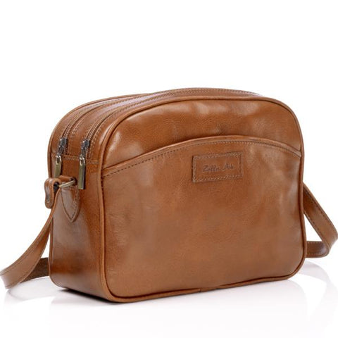 Zella Ash - Alexia, Brown Leather Cross-body Bag