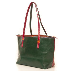 Genuine Leather Green & Red Shoulder Bag