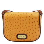 Zella Ash - The Mia Yellow Ostrich Leather Cross-body Bag