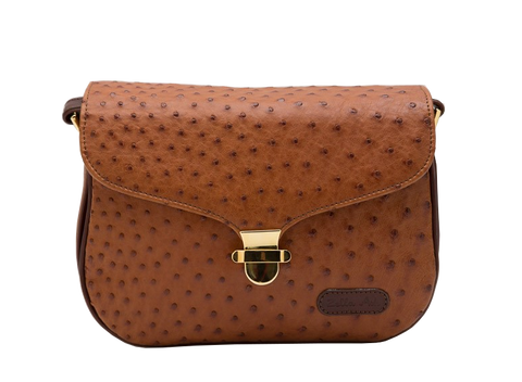 Zella Ash - Hillary Brown Ostrich Leather Cross-body Bag