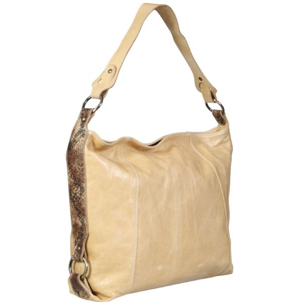 Genuine Snake Skin Accent Beige Brown Tote Bag