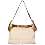 Genuine Leather Stylish Cream and Brown Single Strap Bag