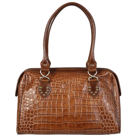 The Zena Brown Croco Embossed Leather Bag