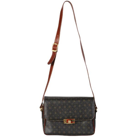 Dark Brown Patterned Cross-body Bag