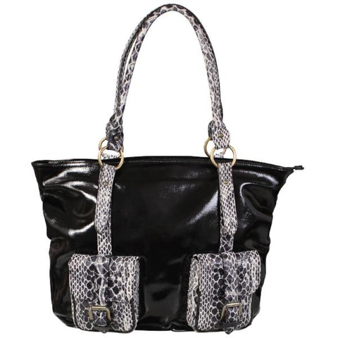 Genuine Leather Snake Print Shoulder Bag